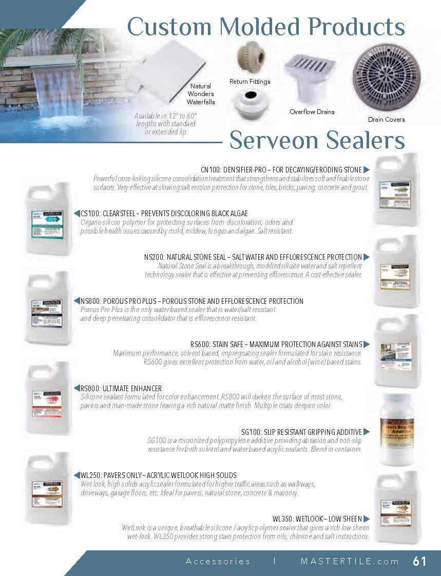 MasterTile Custom Molded Products, Seveon Sealers